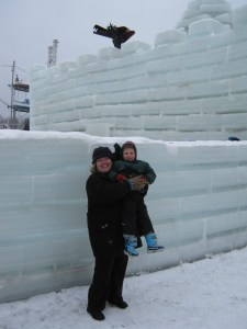 Elisabeth and Wallace at an ice castle